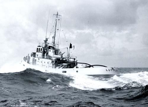 Le Lutteur en mer lors de ses essais..