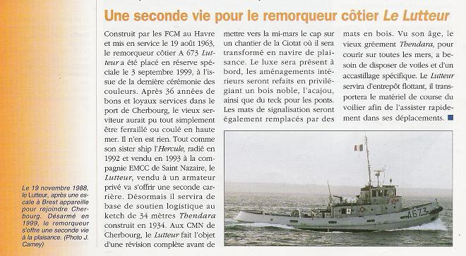 Article sur le Lutteur, parue dans marine & forces navales
