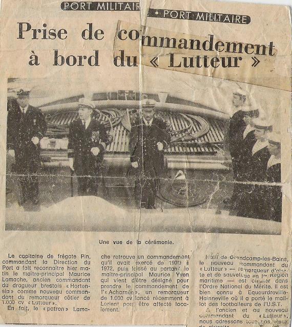 Prise de commandement à bord du RC Lutteur entre le MP YVEN et le MP LAMACHE en 1974